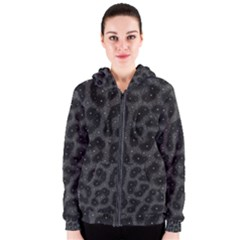 Black Cheetah  Women s Zipper Hoodies