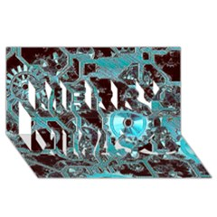 Steampunk Gears Turquoise Merry Xmas 3d Greeting Card (8x4)