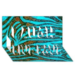 Turquoise Blue Zebra Abstract  Laugh Live Love 3d Greeting Card (8x4)