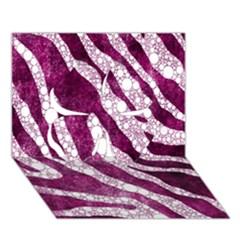 Purple Zebra Print Bling Pattern  Clover 3d Greeting Card (7x5)