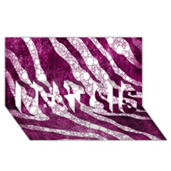 Purple Zebra Print Bling Pattern  Best Sis 3d Greeting Card (8x4)