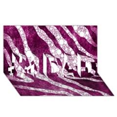 Purple Zebra Print Bling Pattern  #1 Dad 3d Greeting Card (8x4)