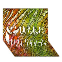 Orange Green Zebra Bling Pattern  You Are Invited 3d Greeting Card (7x5)