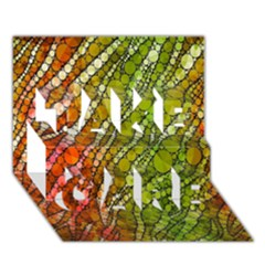 Orange Green Zebra Bling Pattern  Take Care 3d Greeting Card (7x5)