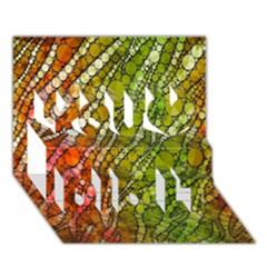 Orange Green Zebra Bling Pattern  You Did It 3d Greeting Card (7x5) by OCDesignss