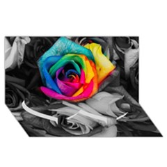 Blach,white Splash Roses Twin Heart Bottom 3d Greeting Card (8x4)
