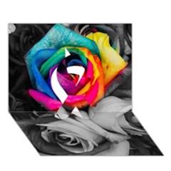 Blach,white Splash Roses Ribbon 3d Greeting Card (7x5)  by MoreColorsinLife