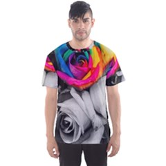 Blach,white Splash Roses Men s Sport Mesh Tees
