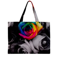 Blach,white Splash Roses Zipper Tiny Tote Bags
