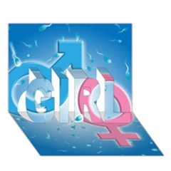 Sperm And Gender Symbols  Girl 3d Greeting Card (7x5)  by ScienceGeek