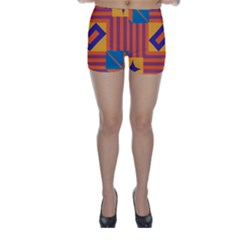 Shapes And Stripes Symmetric Design Skinny Shorts by LalyLauraFLM
