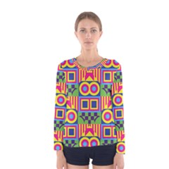 Colorful shapes in rhombus pattern Women Long Sleeve T-shirt