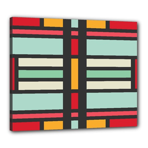 Mirrored Rectangles In Retro Colors Canvas 24  X 20  (stretched) by LalyLauraFLM