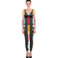 Mirrored Rectangles In Retro Colors Onepiece Catsuit by LalyLauraFLM