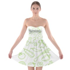 Green Vegetables Strapless Bra Top Dress