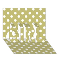 Lime Green Polka Dots Girl 3d Greeting Card (7x5)
