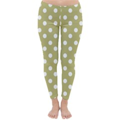 Lime Green Polka Dots Winter Leggings