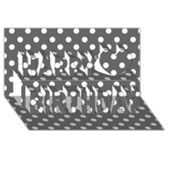 Gray Polka Dots Happy Birthday 3d Greeting Card (8x4)