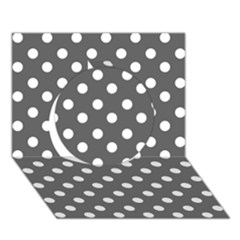 Gray Polka Dots Circle 3d Greeting Card (7x5)