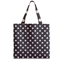 Gray Polka Dots Zipper Grocery Tote Bags by creativemom