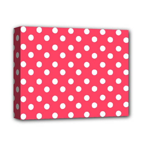 Hot Pink Polka Dots Deluxe Canvas 14  X 11  by creativemom