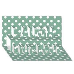 Mint Green Polka Dots Laugh Live Love 3d Greeting Card (8x4)
