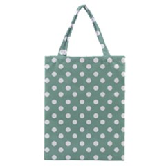 Mint Green Polka Dots Classic Tote Bags by creativemom