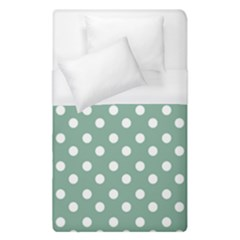 Mint Green Polka Dots Duvet Cover Single Side (Single Size) by creativemom