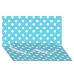 Sky Blue Polka Dots Twin Heart Bottom 3d Greeting Card (8x4)  by creativemom