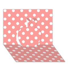 Coral And White Polka Dots Apple 3d Greeting Card (7x5)  by creativemom