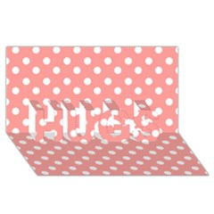 Coral And White Polka Dots Hugs 3d Greeting Card (8x4)