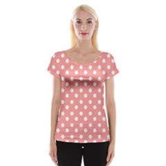 Coral And White Polka Dots Women s Cap Sleeve Top by creativemom