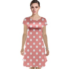 Coral And White Polka Dots Cap Sleeve Nightdresses by creativemom