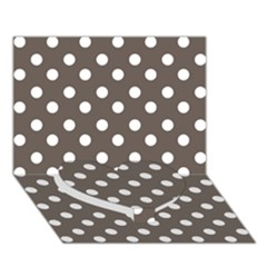 Brown And White Polka Dots Heart Bottom 3d Greeting Card (7x5)