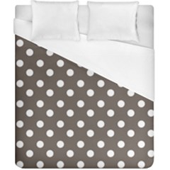 Brown And White Polka Dots Duvet Cover Single Side (double Size) by creativemom
