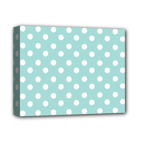 Blue And White Polka Dots Deluxe Canvas 14  X 11  by creativemom