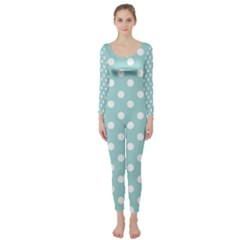 Blue And White Polka Dots Long Sleeve Catsuit by creativemom