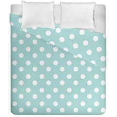 Blue And White Polka Dots Duvet Cover (Double Size) by creativemom