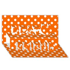 Orange And White Polka Dots Best Friends 3d Greeting Card (8x4)