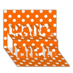 Orange And White Polka Dots You Did It 3d Greeting Card (7x5) by creativemom