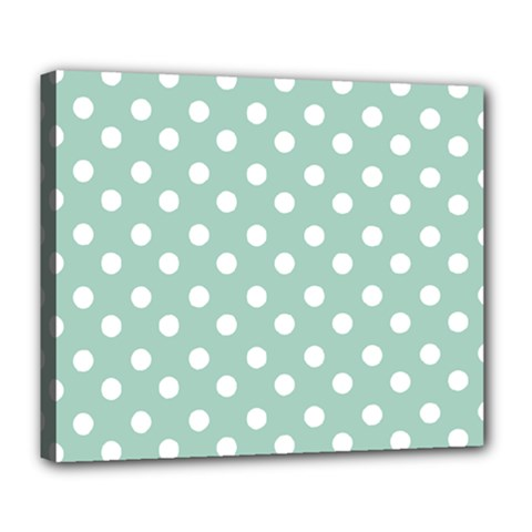 Light Blue And White Polka Dots Deluxe Canvas 24  X 20   by creativemom