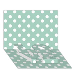 Light Blue And White Polka Dots Love Bottom 3d Greeting Card (7x5)  by creativemom