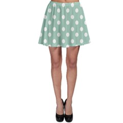 Light Blue And White Polka Dots Skater Skirts by creativemom