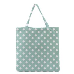 Light Blue And White Polka Dots Grocery Tote Bags by creativemom