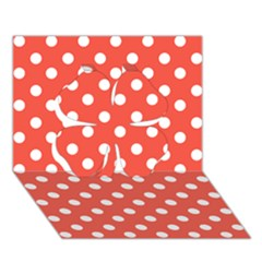 Indian Red Polka Dots Clover 3d Greeting Card (7x5)