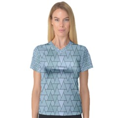 Geo Fun 7 Light Blue Women s V-Neck Sport Mesh Tee