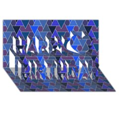 Geo Fun 7 Inky Blue Happy Birthday 3d Greeting Card (8x4)  by MoreColorsinLife