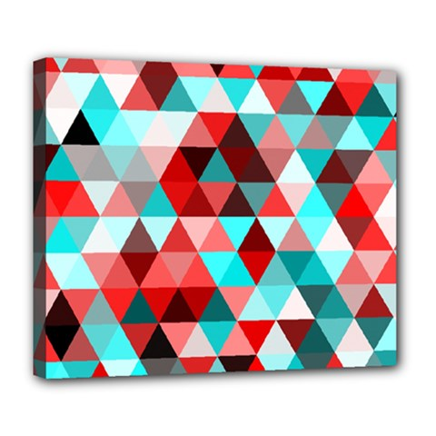 Geo Fun 07 Red Deluxe Canvas 24  X 20   by MoreColorsinLife