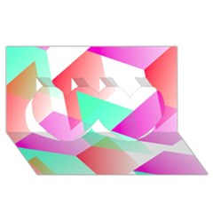 Geometric 03 Pink Twin Hearts 3d Greeting Card (8x4)