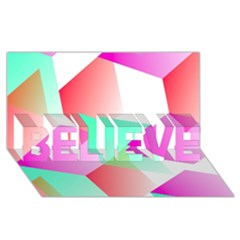 Geometric 03 Pink Believe 3d Greeting Card (8x4)